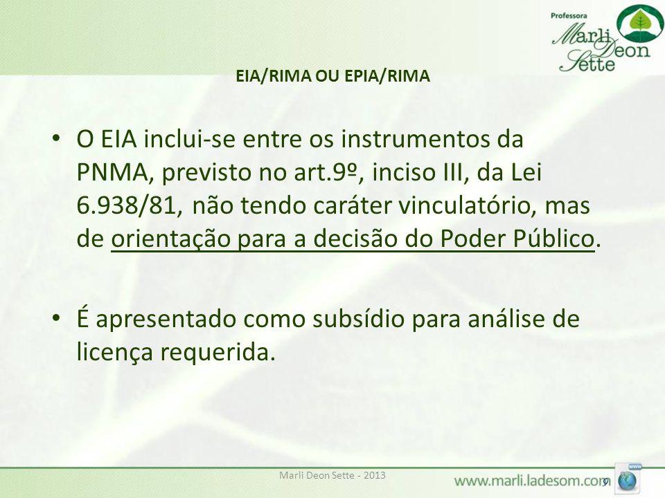 É apresentado como subsídio para análise de licença requerida.