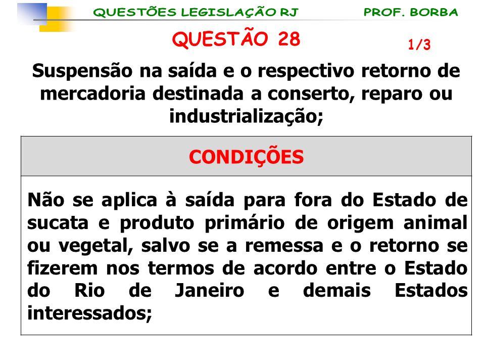 QUESTÃO 28 1/3. Suspensão na saída e o respectivo retorno de mercadoria destinada a conserto, reparo ou industrialização;
