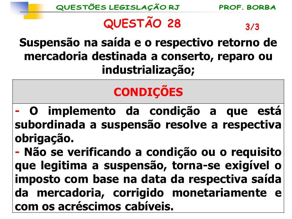 QUESTÃO 28 3/3. Suspensão na saída e o respectivo retorno de mercadoria destinada a conserto, reparo ou industrialização;