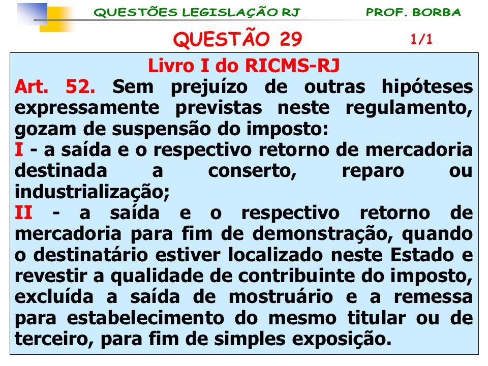 QUESTÃO 29 Livro I do RICMS-RJ