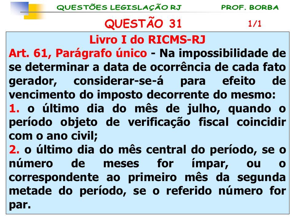 QUESTÃO 31 Livro I do RICMS-RJ