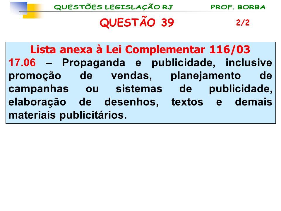 Lista anexa à Lei Complementar 116/03