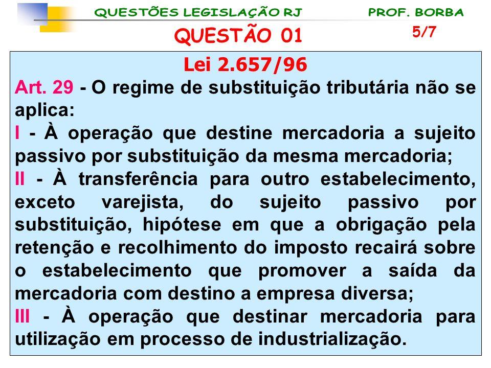 Art. 29 - O regime de substituição tributária não se aplica: