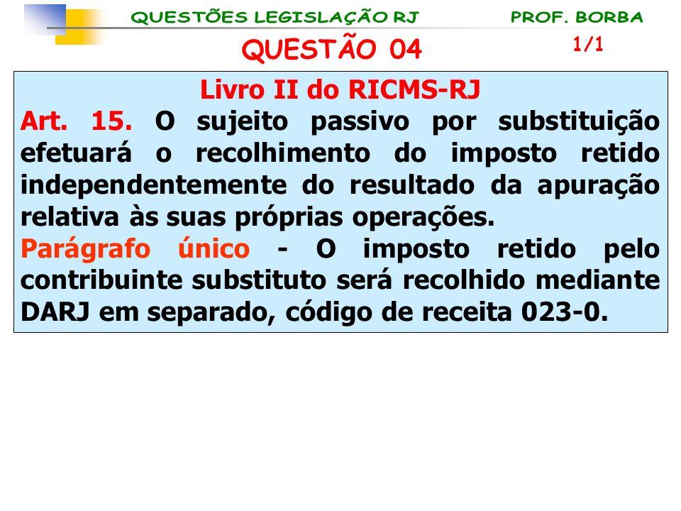 QUESTÃO 04 Livro II do RICMS-RJ