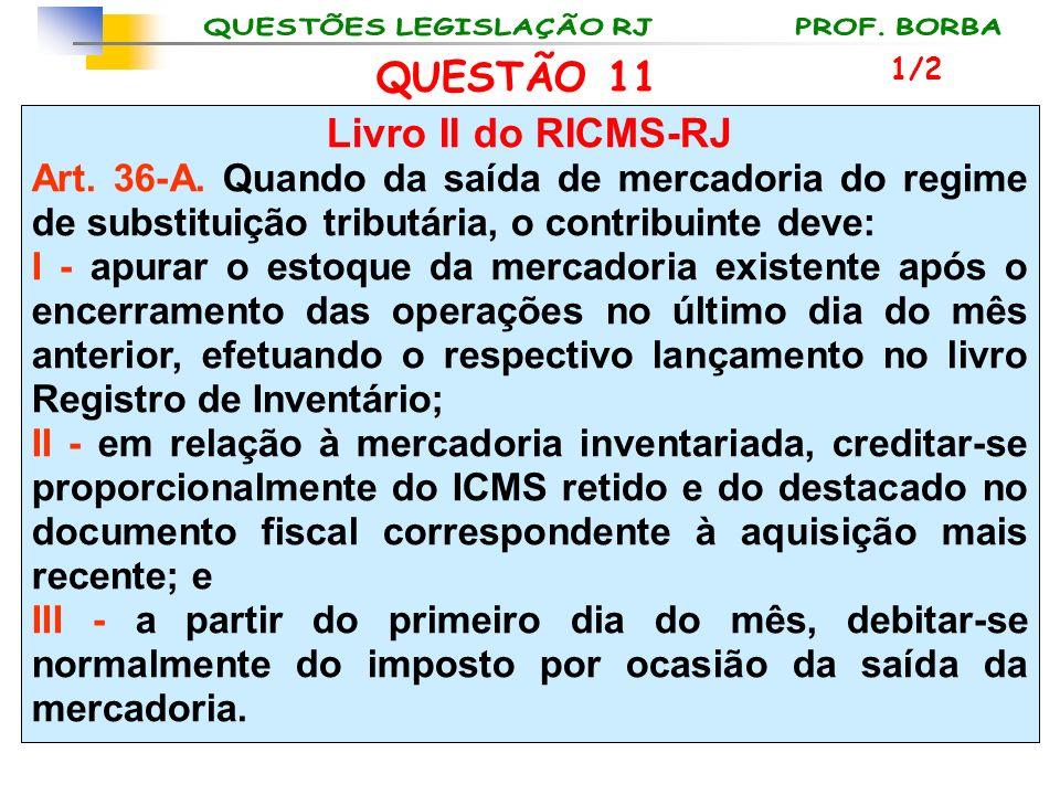 QUESTÃO 11 Livro II do RICMS-RJ