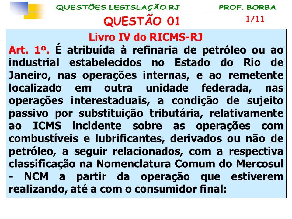 QUESTÃO 01 Livro IV do RICMS-RJ