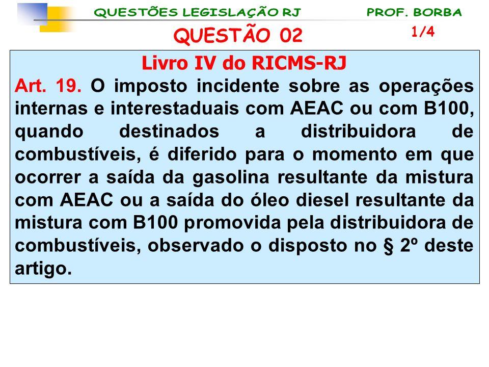 QUESTÃO 02 Livro IV do RICMS-RJ