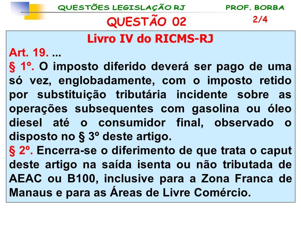 QUESTÃO 02 Livro IV do RICMS-RJ Art. 19. ...