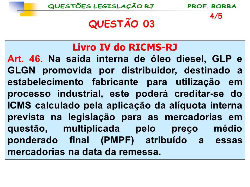 QUESTÃO 03 Livro IV do RICMS-RJ