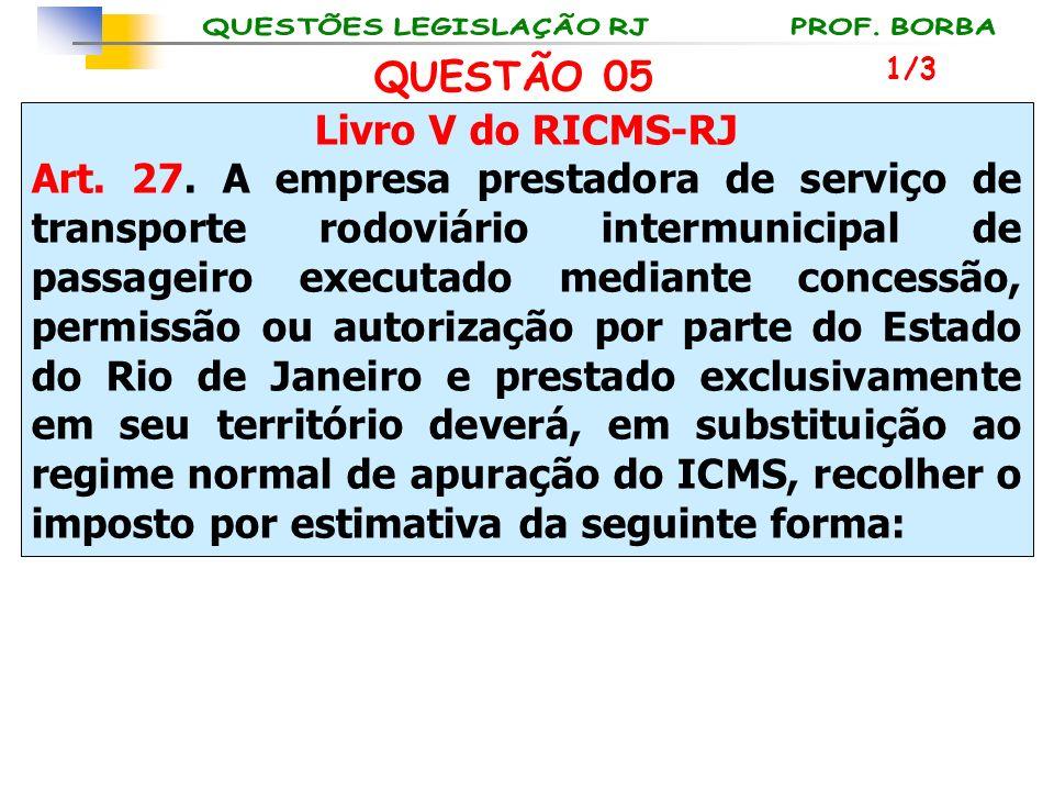 QUESTÃO 05 Livro V do RICMS-RJ