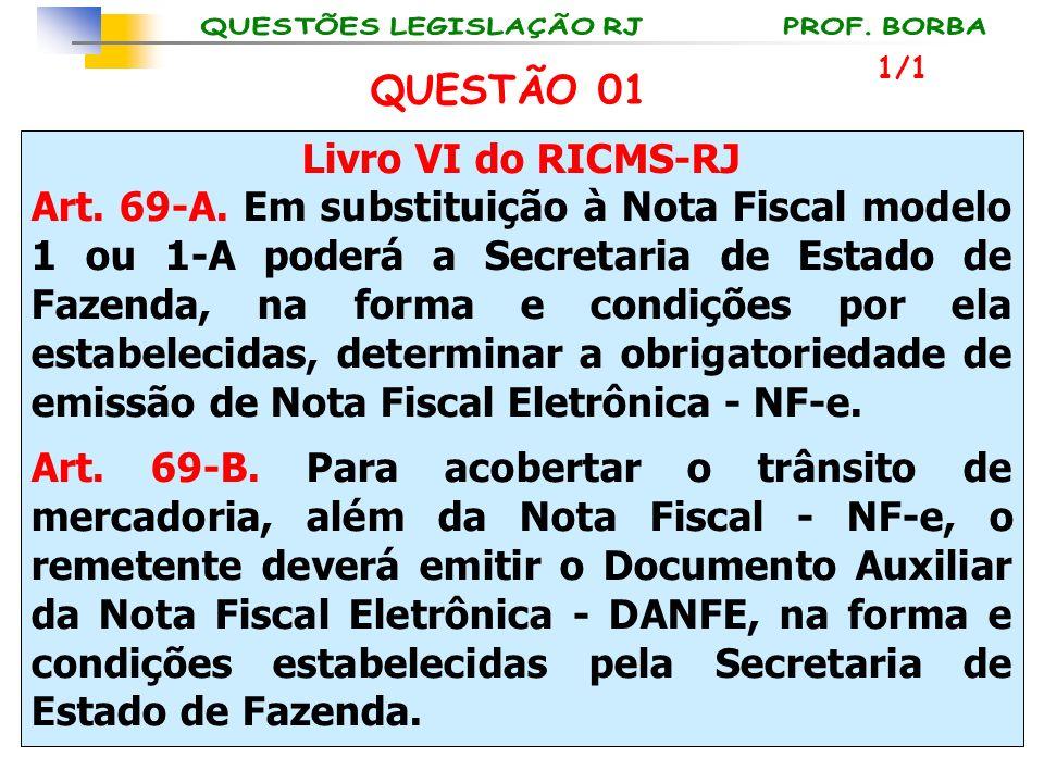 QUESTÃO 01 Livro VI do RICMS-RJ