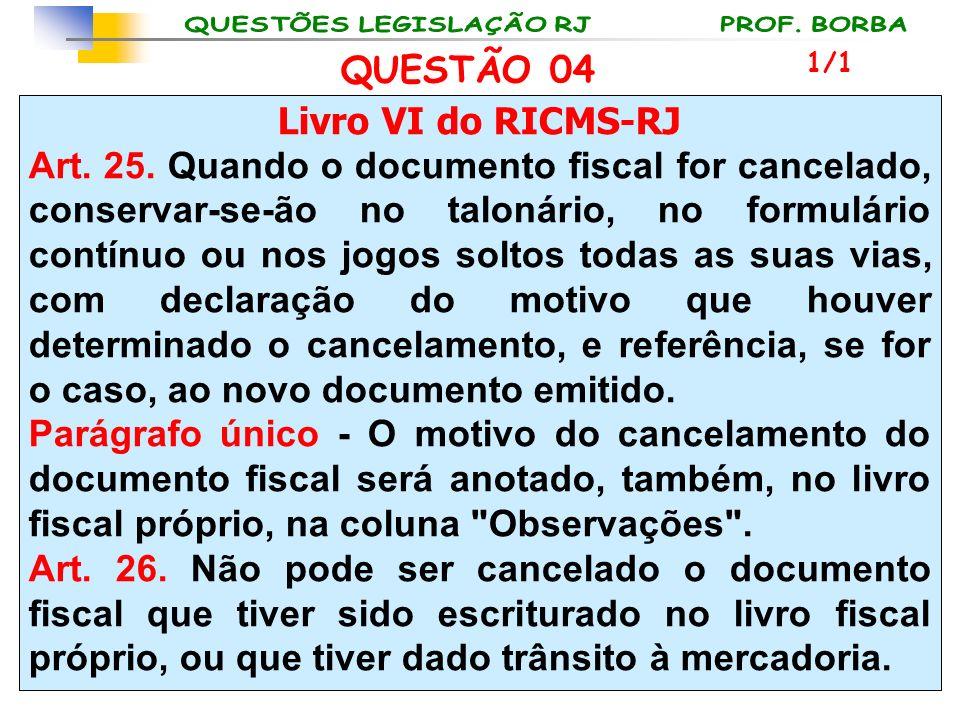 QUESTÃO 04 Livro VI do RICMS-RJ