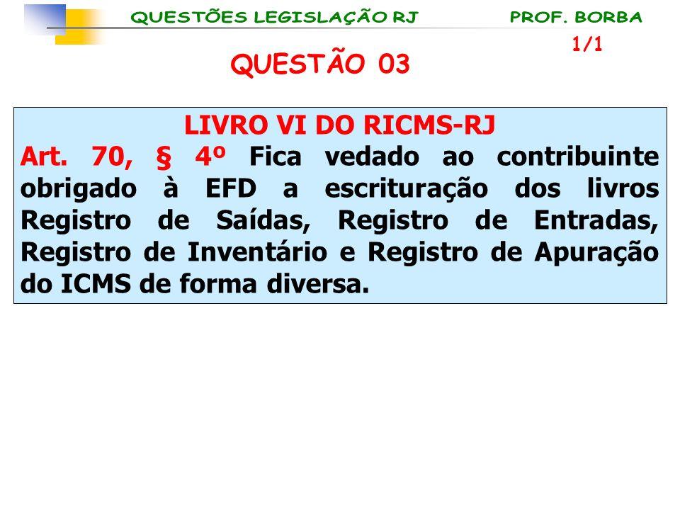 QUESTÃO 03 LIVRO VI DO RICMS-RJ