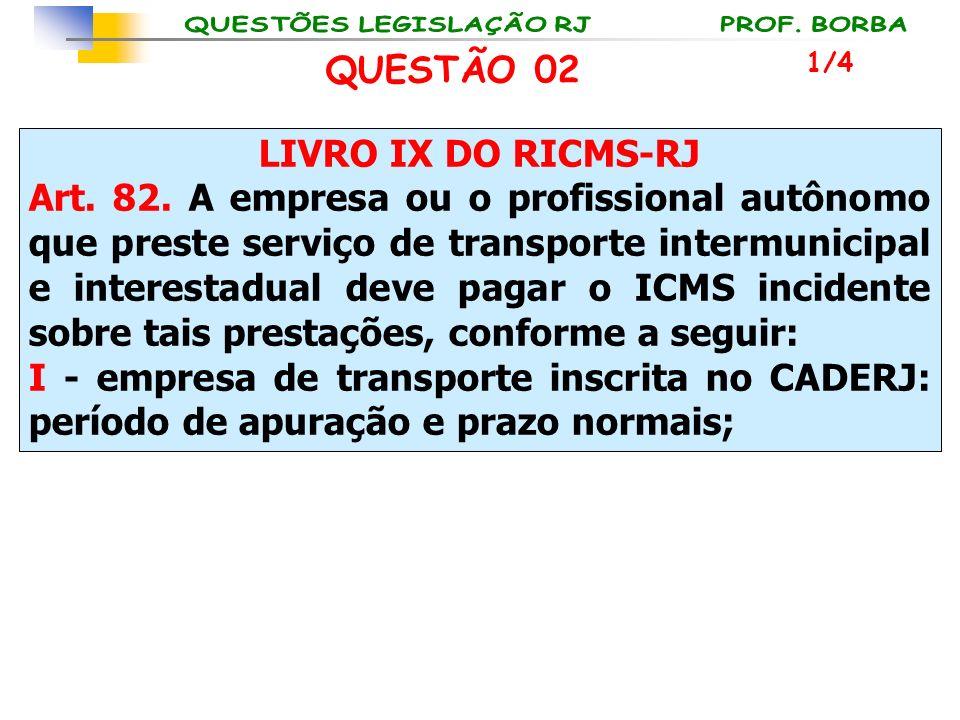 QUESTÃO 02 LIVRO IX DO RICMS-RJ