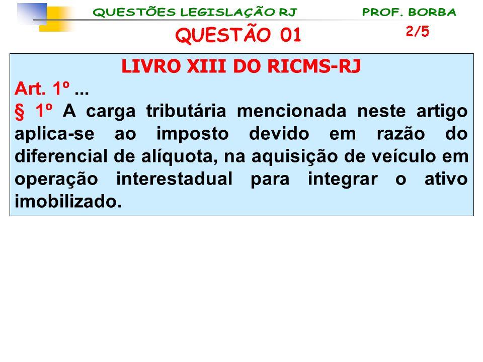 QUESTÃO 01 LIVRO XIII DO RICMS-RJ Art. 1º ...