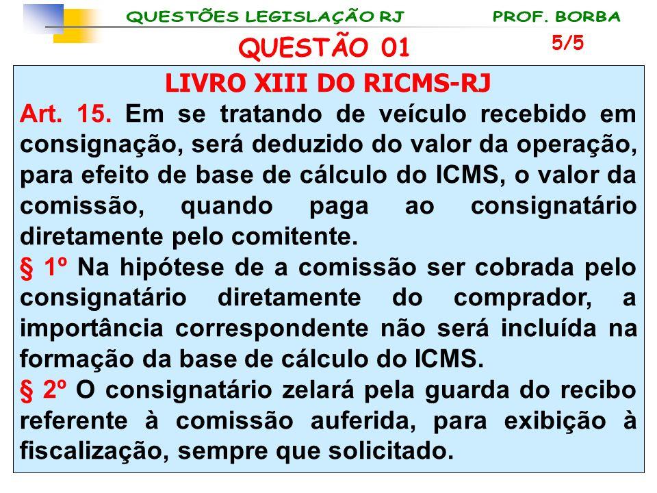 QUESTÃO 01 LIVRO XIII DO RICMS-RJ