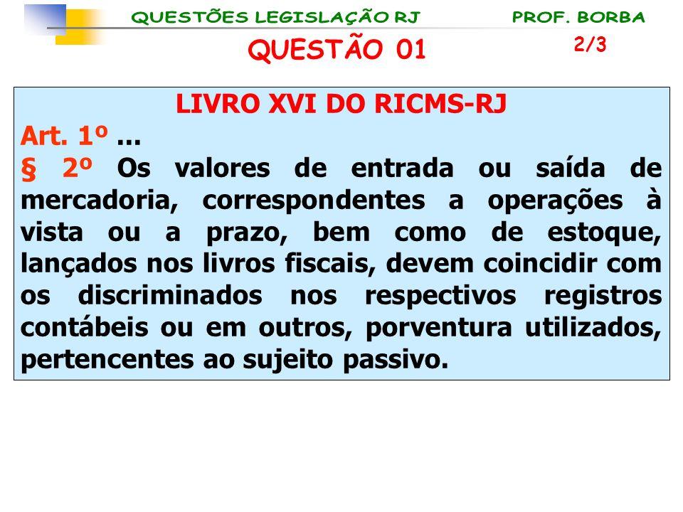 QUESTÃO 01 LIVRO XVI DO RICMS-RJ Art. 1º ...