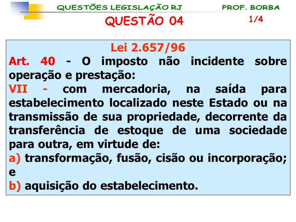 Art. 40 - O imposto não incidente sobre operação e prestação: