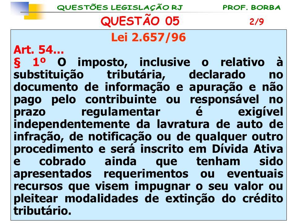 QUESTÃO 05 2/9. Lei 2.657/96. Art. 54...