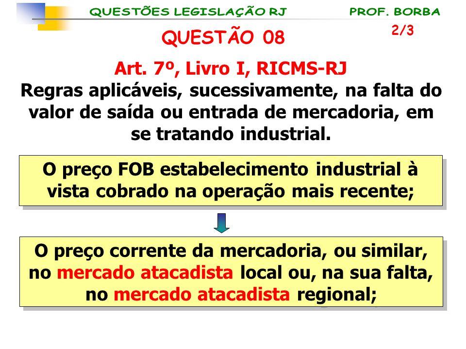 QUESTÃO 08 Art. 7º, Livro I, RICMS-RJ