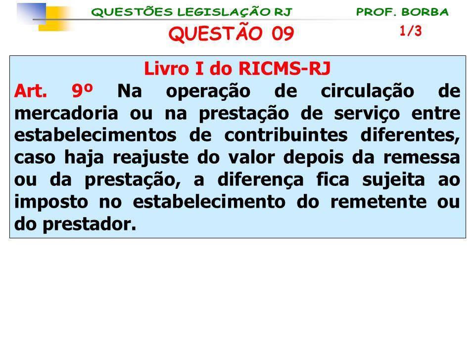 QUESTÃO 09 Livro I do RICMS-RJ