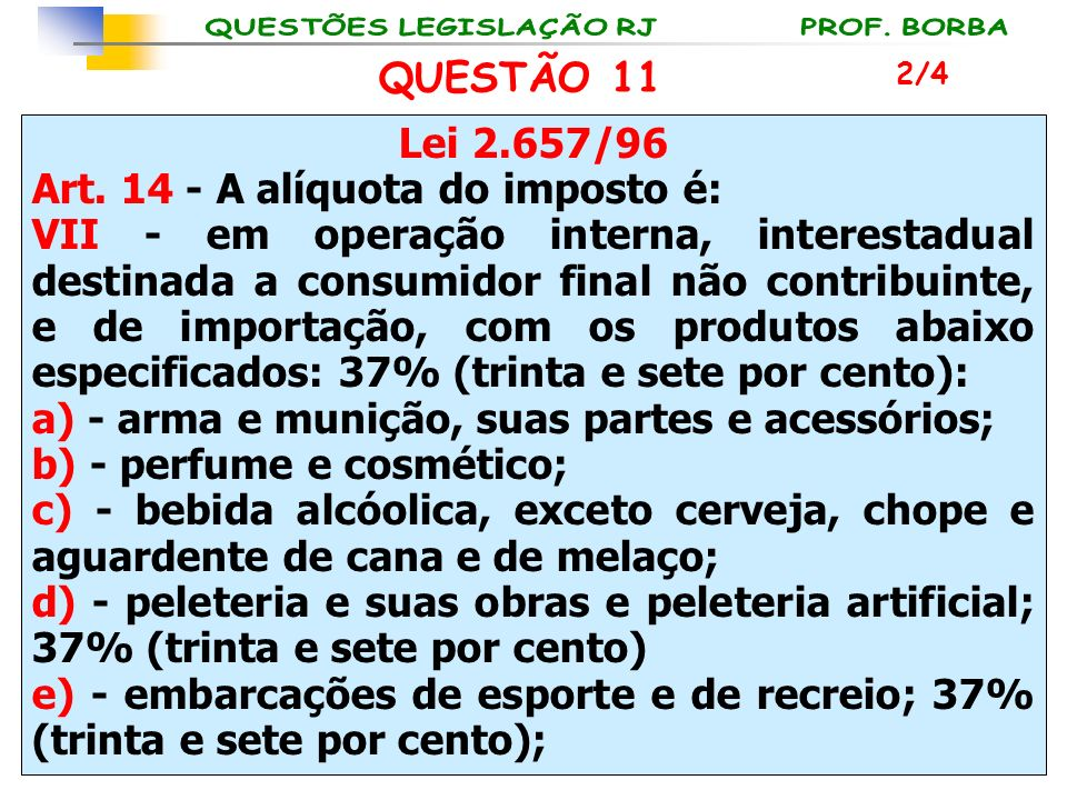 Art. 14 - A alíquota do imposto é: