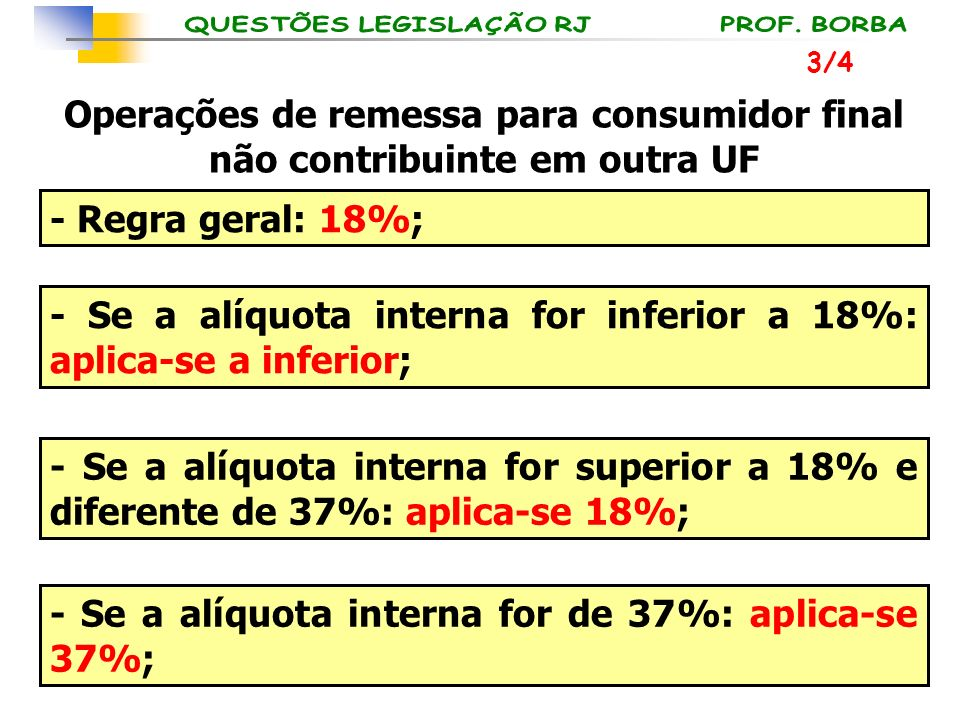 - Se a alíquota interna for inferior a 18%: aplica-se a inferior;
