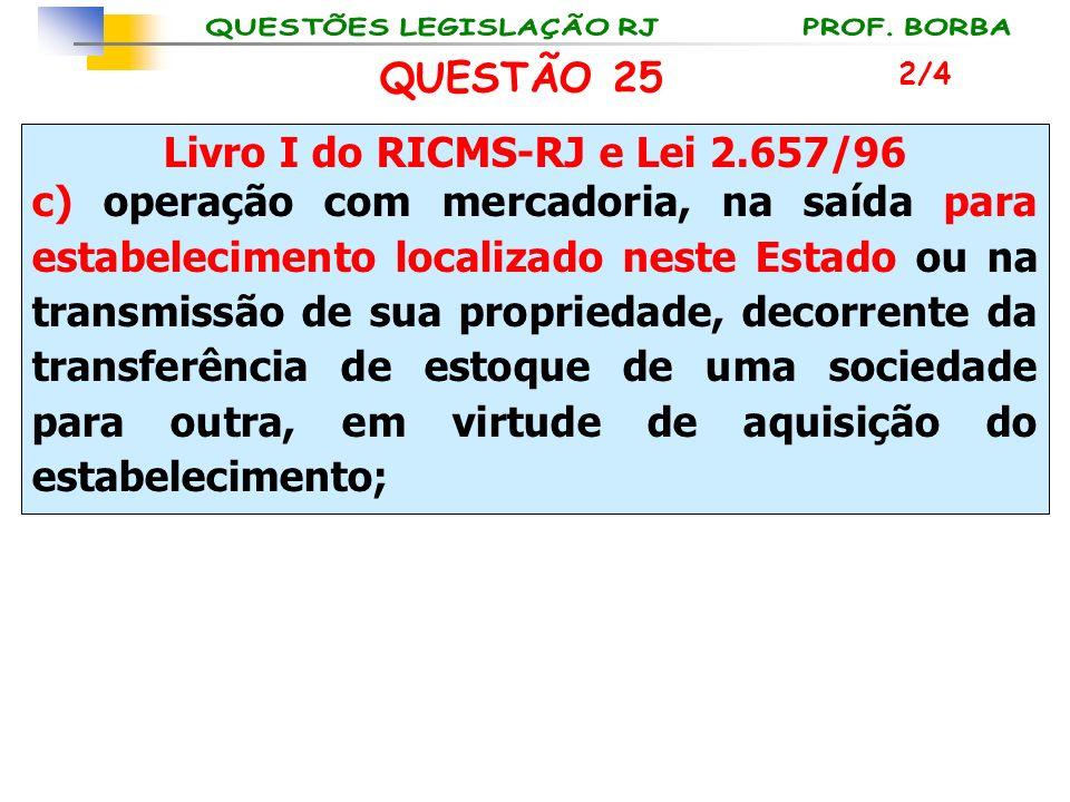 Livro I do RICMS-RJ e Lei 2.657/96