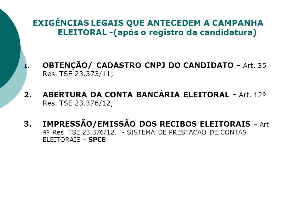 EXIGÊNCIAS LEGAIS QUE ANTECEDEM A CAMPANHA ELEITORAL -(após o registro da candidatura)