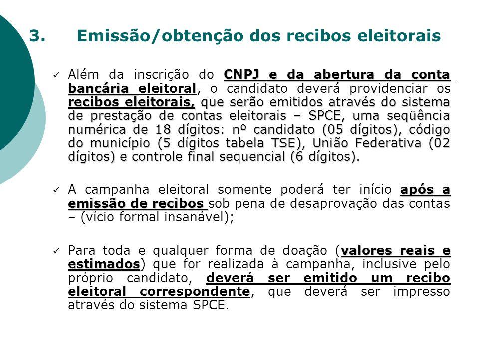 3. Emissão/obtenção dos recibos eleitorais