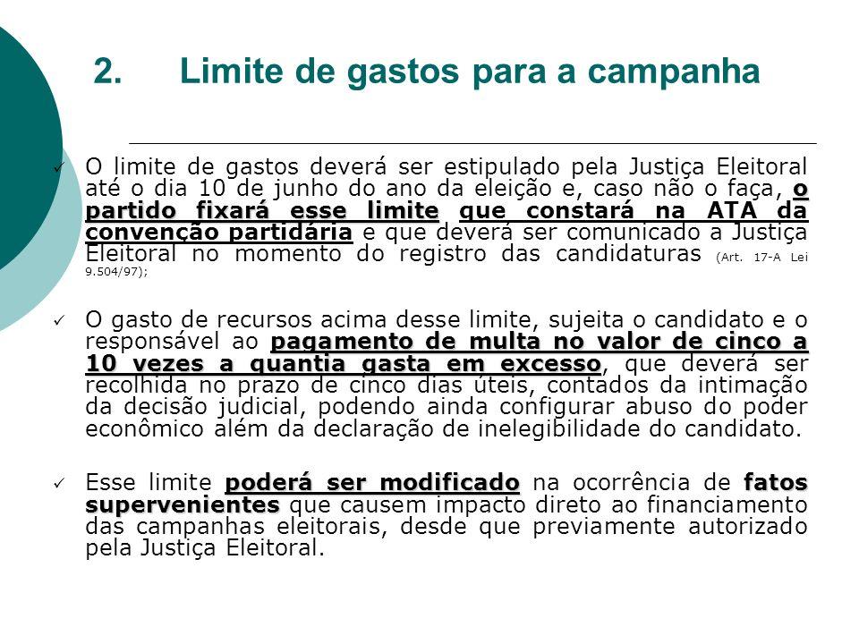 2. Limite de gastos para a campanha