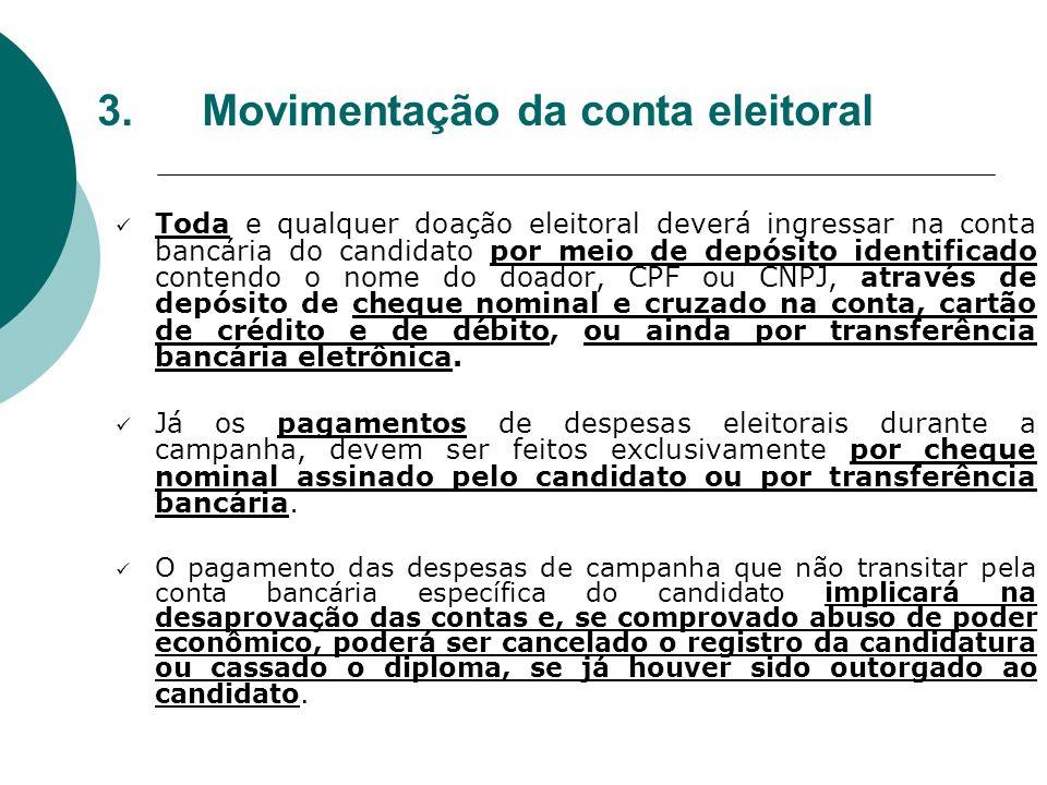 3. Movimentação da conta eleitoral