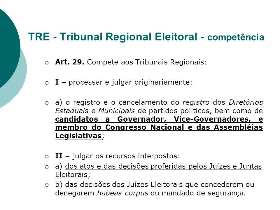 TRE - Tribunal Regional Eleitoral - competência