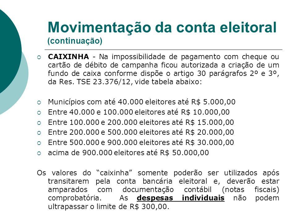 Movimentação da conta eleitoral (continuação)