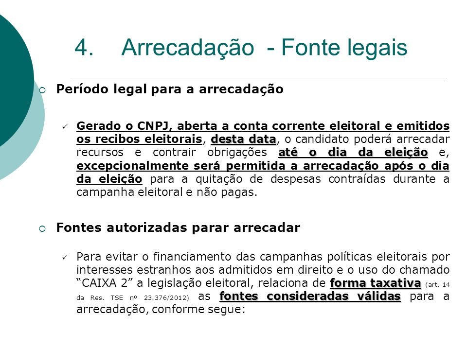 4. Arrecadação - Fonte legais