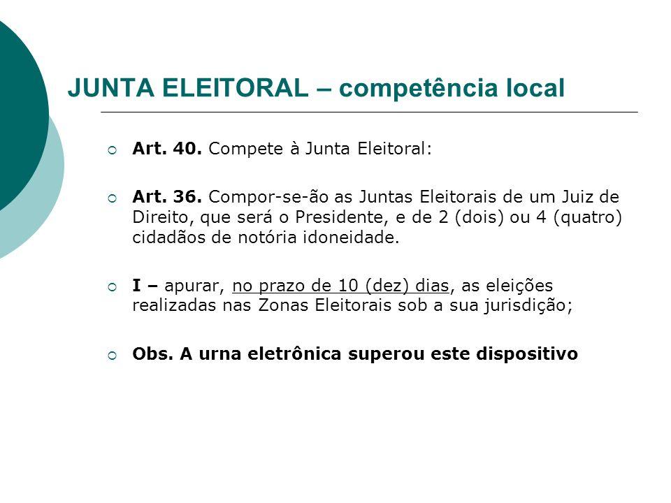 JUNTA ELEITORAL – competência local