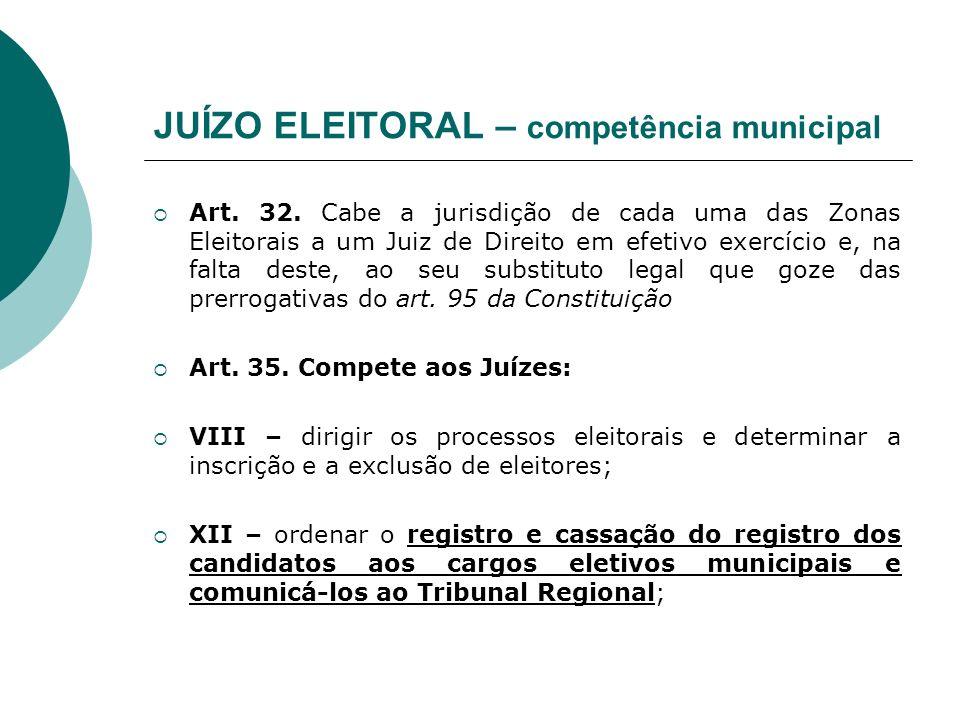JUÍZO ELEITORAL – competência municipal