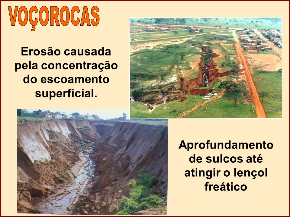 VOÇOROCAS Erosão causada pela concentração do escoamento superficial.