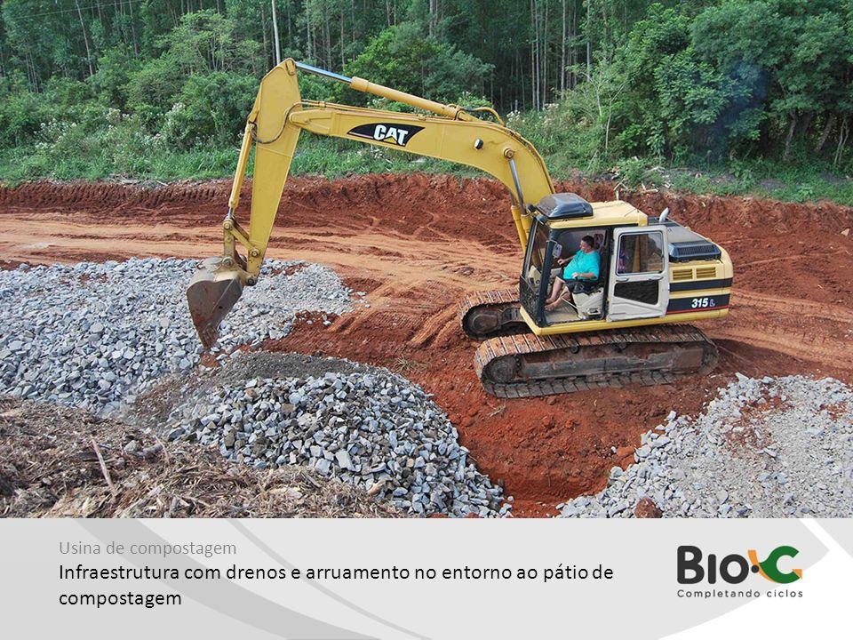 Usina de compostagem Infraestrutura com drenos e arruamento no entorno ao pátio de compostagem