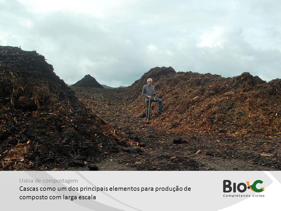 Usina de compostagem Cascas como um dos principais elementos para produção de composto com larga escala.