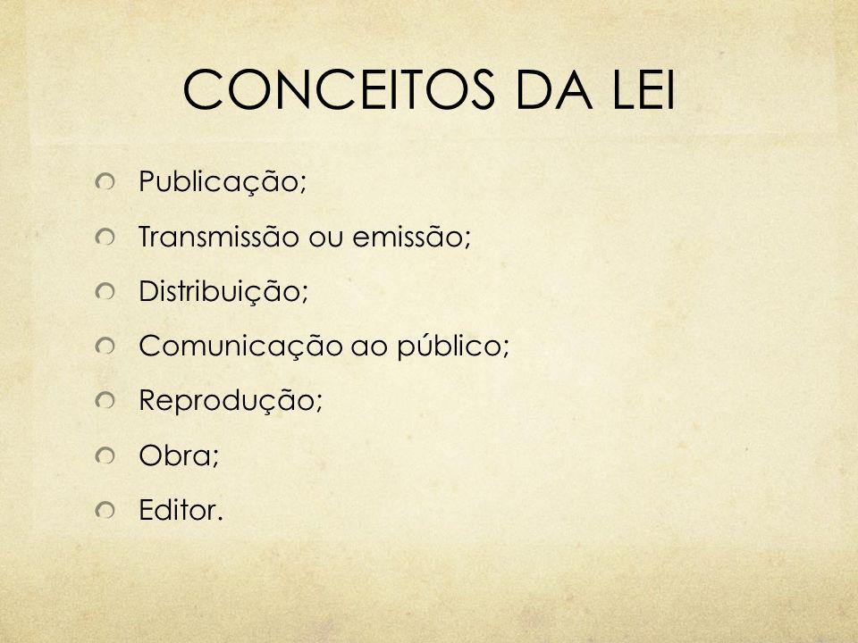 CONCEITOS DA LEI Publicação; Transmissão ou emissão; Distribuição;