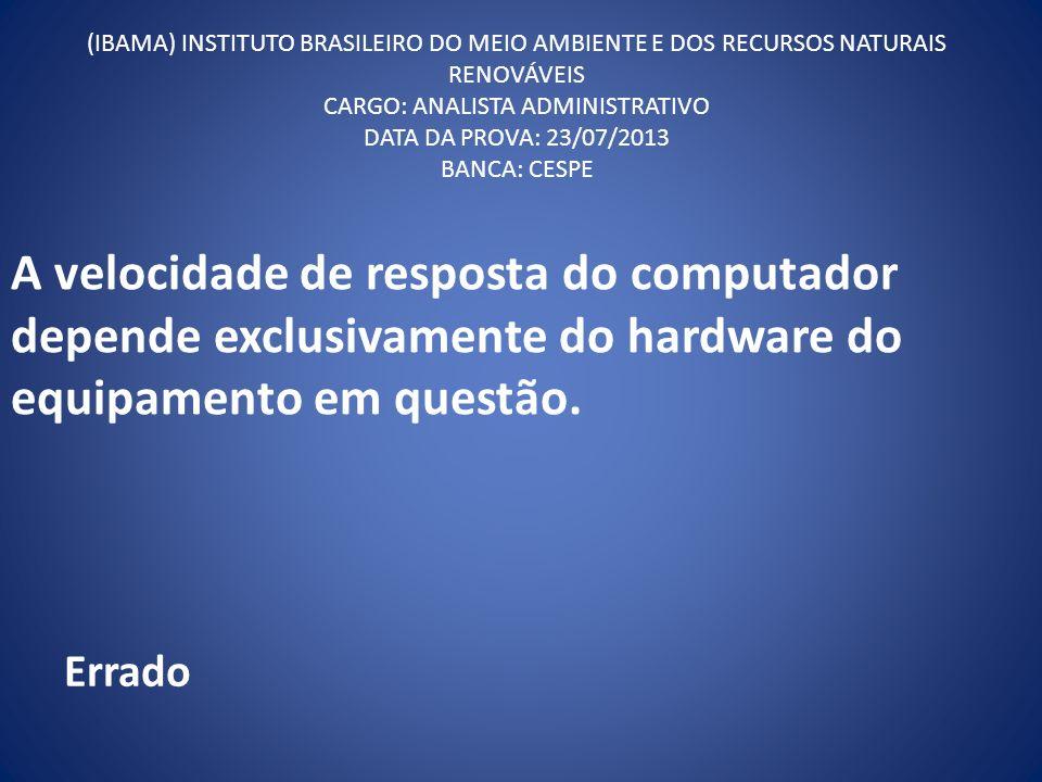 (IBAMA) INSTITUTO BRASILEIRO DO MEIO AMBIENTE E DOS RECURSOS NATURAIS RENOVÁVEIS CARGO: ANALISTA ADMINISTRATIVO DATA DA PROVA: 23/07/2013 BANCA: CESPE