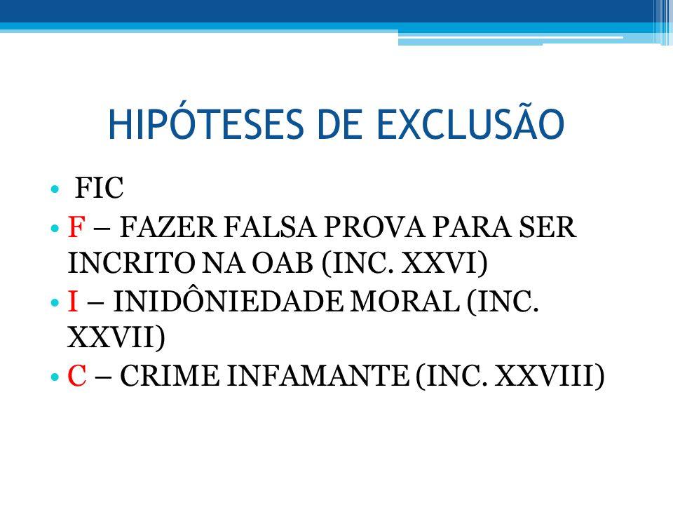 HIPÓTESES DE EXCLUSÃO FIC