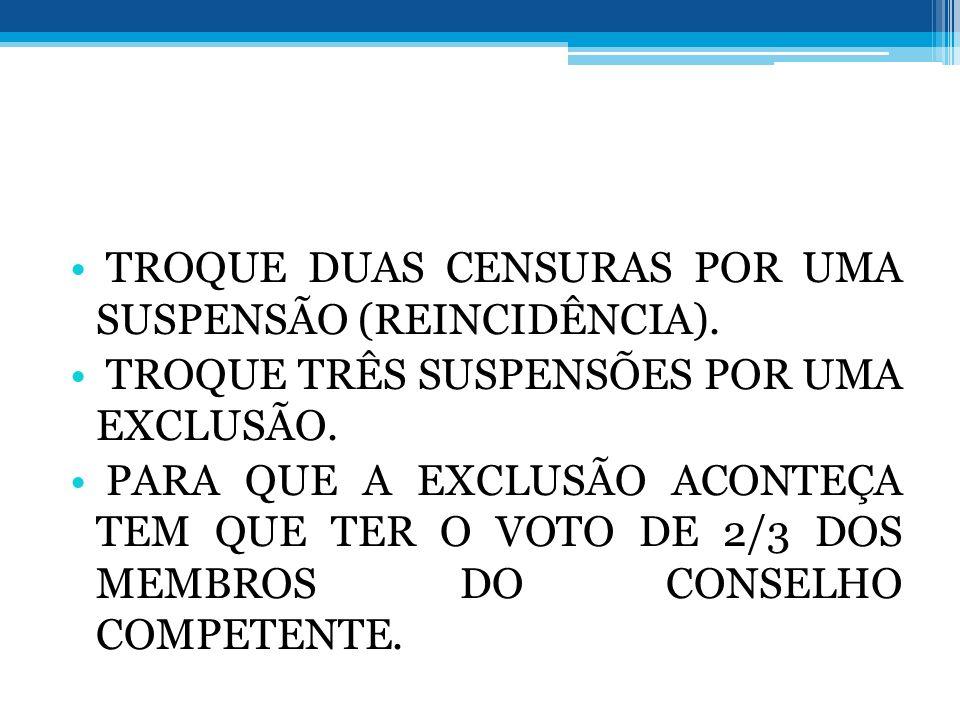 TROQUE DUAS CENSURAS POR UMA SUSPENSÃO (REINCIDÊNCIA).