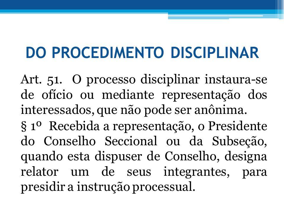 DO PROCEDIMENTO DISCIPLINAR