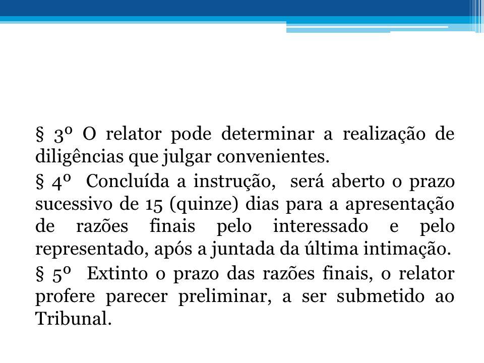 § 3º O relator pode determinar a realização de diligências que julgar convenientes.