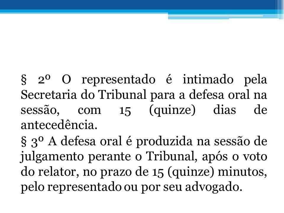 § 2º O representado é intimado pela Secretaria do Tribunal para a defesa oral na sessão, com 15 (quinze) dias de antecedência.