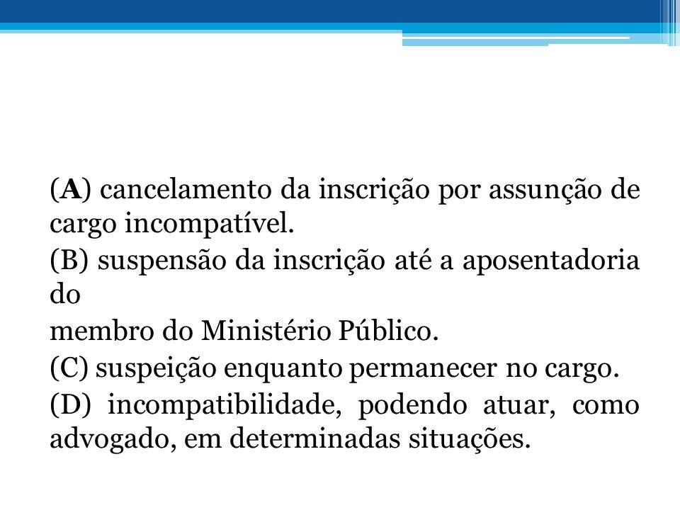 (A) cancelamento da inscrição por assunção de cargo incompatível