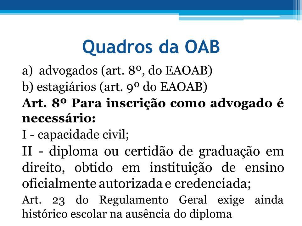 Quadros da OAB a) advogados (art. 8º, do EAOAB) b) estagiários (art. 9º do EAOAB) Art. 8º Para inscrição como advogado é necessário: