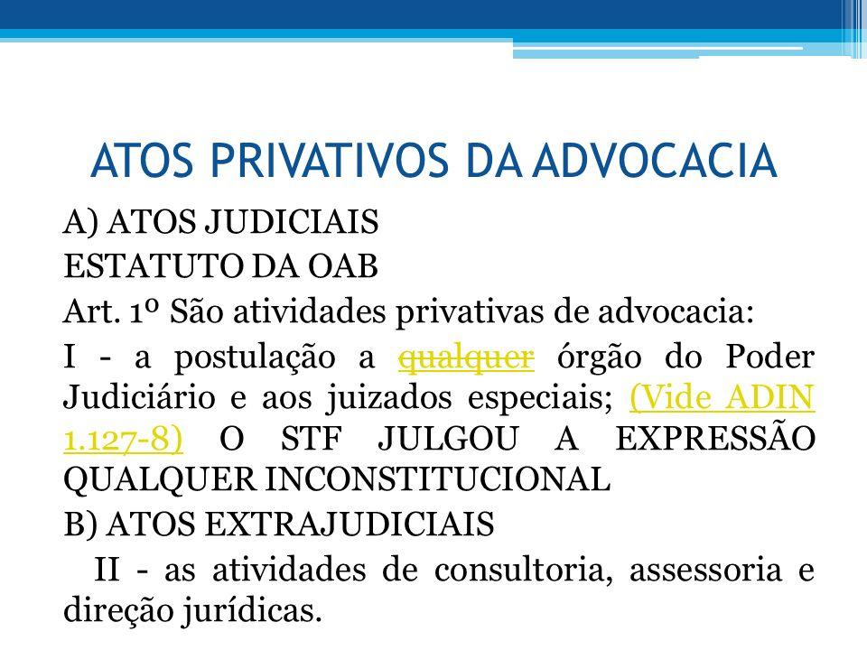 ATOS PRIVATIVOS DA ADVOCACIA